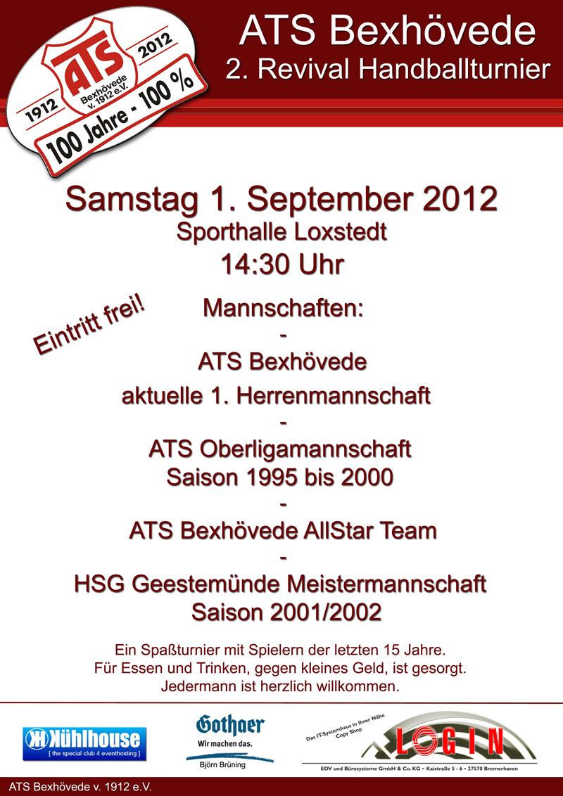 Am Kommenden Samstag Um 14.30 Uhr Findet Wieder Ein  Revival Handball Turnier Im Rahmen Unseres 100jährigen Vereinsjubiläums In  Der Loxstedter Sporthalle ...